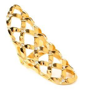 NWT Amirita Singh gold ring shield with crystals